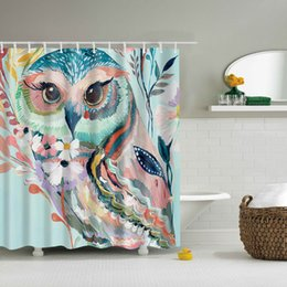 Discount owl products - Wholesale-Svetanya owl Print Shower Curtains Bath Products Bathroom Decor with Hooks Waterproof 71x71