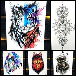 1ab069790 25 Styles New Watercolor Tiger Fox Wolf Temporary Tattoo For Men Women Fake  Tatoo Body Art Decals Waterproof Arm Tattoo Stickers