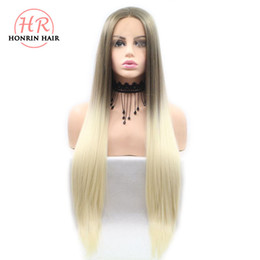 Discount two tone brown hair color - Honrin Hair Brown To Blonde Two Tones Ombre Silky Straight Wigs Synthetic Lace Front Wigs For Women Heat Resistant Long