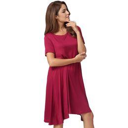 fe8067b4607 2017 Summer Basic T-shirt Dress Fashion Women Solid A-Line Dress O Neck  Short Sleeve Casual Party Midi Dress Black Tunique Femme