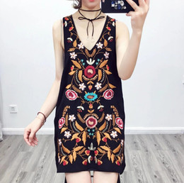 chinese dress 2019 - Embroidered Cotton Dress Summer Womens Chinese Style Jacquard National Trend One-piece Dress discount chinese dress