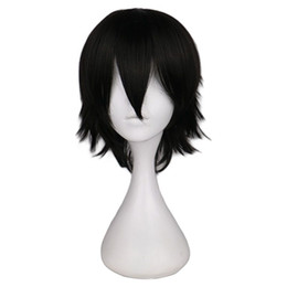 Chinese  Short Straight Cosplay Wig Men Male Black High 100% Temperature Fiber Synthetic Hair Wigs manufacturers