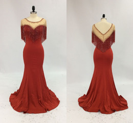 $enCountryForm.capitalKeyWord NZ - real image 2018 mermaid evening pageant dresses with crystal tassel cape wrap beaded neck dubai arabic occasion prom dress plus size
