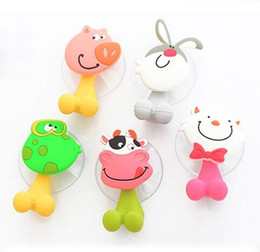 Chinese  Free Shipping Animal Cute Cartoon Suction Cup Toothbrush Holder Bathroom Accessories Set Wall Suction Holder Tool manufacturers