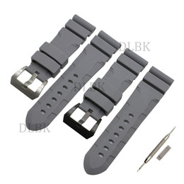 Discount panerai watch band strap 22mm - 24mm 26mm (Buckle 22mm) Men Gray Diving Silicone Rubber Watch Band Strap Sport Bracelet Strap Stainless Steel Buckle for