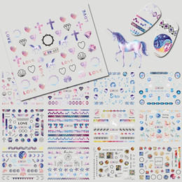 Diamond Nail Art Decals NZ - 12 Designs Unicorn Diamond Mixed Nail Decals Rainbow Nail Art Water Transfer Stickers Decals Beauty Decoration DIY BEBN637-648