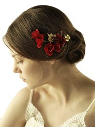 $enCountryForm.capitalKeyWord NZ - Vintage Handmade Red Rose Hair Clip Golden Leaf Rhinestones Flower Headpiece Bridal Wedding Accessories