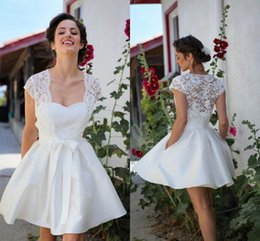 $enCountryForm.capitalKeyWord NZ - Simple A Line Short Wedding Dresses Cheap with Pockets Sweetheart Backless Summer Bridal Gowns with Lace Wrap