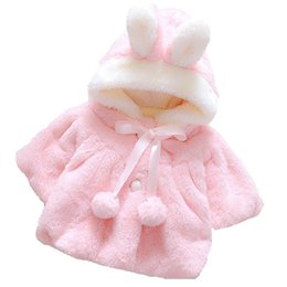jacket hat baby 2018 - Winter Coat Lovely Solid Color Fashion Baby Girls Clothes Latest Doll Clothes Fur Ball Small Fresh Rabbit Hat cheap jack