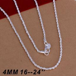 925 sterling silver chains 22inch Canada - Hot Selling 925 sterling silver 4MM Twist ROPE CHAIN Necklace 16inch 18inch 20inch 22inch 24inch 10pcs Free Shipping