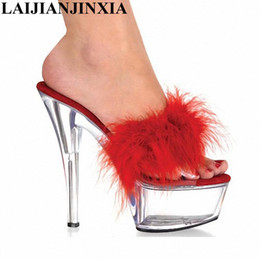 Strippers Shoes Canada - LAIJIANJINXIA 6 Inch Red PU Leather Sexy Slippers  Classic Crystal Shoes Lady 77a572fae819