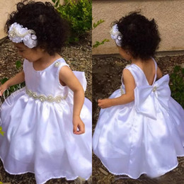 little girls bows Australia - Cute 2018 White Elastic Silk Like Satin Toddler Flower Girls Dresses With Beaded Sash With Big Bow Little Girls Wedding Dress Custom EN1054