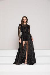 Платья партии сексуальные черные кружевные шорты платье съемный подвижный хвост пальто прозрачный с длинным рукавом небольшой круглый воротник подгонянный пакет