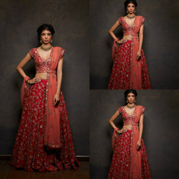 df9da1912d Chic Two Pieces Indian Wedding Dresses Short Sleeve V Neck Lace Appliques  Crystal Beaded Bridal Gowns A Line Luxury Vintage Wedding Dress