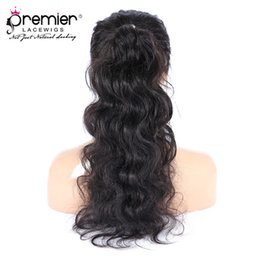 Ponytail hairstyles online shopping - Premier Lace Wigs Brazilian Virgin Hair Wigs Body Wave Ponytail Pre plucked Bleach Knots Density Deep Lace Parting Human Lace Wigs