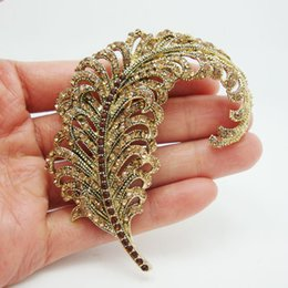 Discount rhinestone feather brooches - rooches and pins wholesale Rhinestone Brooch Classical Peacock Feathers Gold-Tone Brown Rhinestone Crystal Brooch Pin Fr