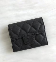 Wholesale 2018 Fashion Design Short Wallet Genuine Leather Lambskin two Fold Wallets Card Holder Coin Pouch With Box good price