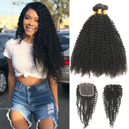 indian remy afro kinky hair weave 2019 - Indian Afro Kinky Curly Hair Weave 3 Bundles With Closure Top Human Hair Bundles With Closure 4pcs lot Deals Non Remy Fr