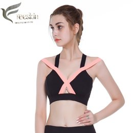 d14f8ad689875 Freeskin Women Sports Bra Yoga Bra Plus Size Patchwork Tops Gym Cross  Fitness Padded Mujer Strappy Cropped Top