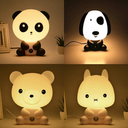 Wholesale EU US Plug Night light Lovely Sleeping Lamp Hello Kitty Dog Bear Rabbit Cartoon Light Kids Bed Lamp Desk for Gifts