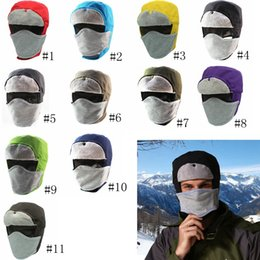 65379951 Winter fur hats Windproof Thick warm snow women Lei Feng caps Face Mask  men's removable mask hat GGA1074