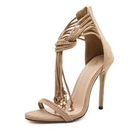 c929b1571c6 2018 Summer Roman Thin Belt Zipper Women Pumps Shoes Sexy High Heels  Fashion Gladiator Fringe Peep Toe Woman Sandals 3492