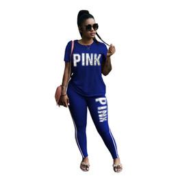 0dd0b3fe346 Femmes Casual 2pcs Vêtements Définit Vêtements Femme Survêtements D été  Tshirt Pantalon Slim Fit PINK Lettres Designer