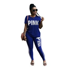 Chinese  Women Casual 2pcs Clothing Sets Female Clothes Summer Tracksuits Tshirt Pants Slim Fit PINK Letters Designer manufacturers