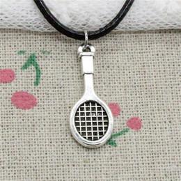$enCountryForm.capitalKeyWord Australia - Creative Fashion Antique Silver Pendant tennis racket 29*10mm Necklace Choker Charm Black Leather Cord Handmade Jewlery