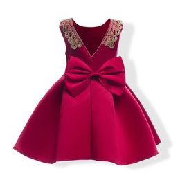 elegant princess gowns for kids 2018 - elegant girl dress noble sleeveless European lady style bowtie princess dress for 3-10yrs girls kids children party dinn