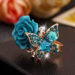 White Acrylic Cubes Wholesale Australia - New Rose Ring Shiny Rhinestone Butterfly Rings Retro Bohemia Alloy With Cube Crystal 6 Colors Shinny Flower Rings Women Jewelry
