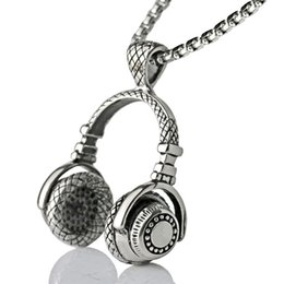 Wholesale hip hop music resale online - Music DJ Headphone Pendant Necklaces Stainless Steel Chain Men Women Hip Hop Jewelry Rock Headset Necklace Music Lovers Gift