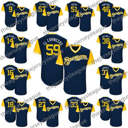 5d053927295c Hot Sale  9 Pineapple 18 Nerd Power 33 Maverick 37 Swarzy 41 Cabezon Navy  Good Quality Stitched Custom Nickname Baseball Jerseys