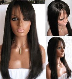 straight bangs wig Australia - Human Hair Wigs With Bangs Silky Straight Peruvian Virgin Full Lace Wig With Baby Hair Lace Front Wigs Black Women