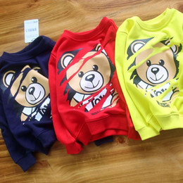 Discount high kids clothes - Chao Autumn High Quality New Pattern Boy Long Sleeve Round Collar Casual Hoodies bear printing tide kids clothes Pure Co