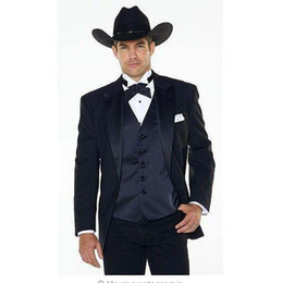 бест вестерн  оптовых-Jakcet Pants navy blue Vest Notch Lapel Western Cowboy Style mens suit black Groom Wear Tuxedos Best Man Wedding Suits For men