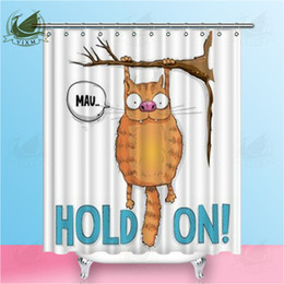 "72 shower curtain UK - Vixm Home Ginger Cat Hanging On A Tree Fabric Shower Curtain Cat Colorful Pattern Bath Curtain For Bathroom With Hook Rings 72"" X 72"""