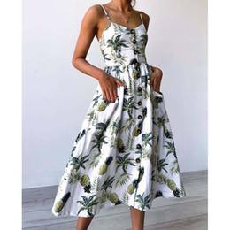 Discount white dress big floral print - 2018 Women Print Floral Striped Beach Dress Girl Summer V Neck Spaghetti Strap Casual Sexy Plus Large Big Size Botton Up