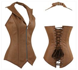d473c9e61 online shopping Women s Plus Size Steampunk Corset Gothic Steel Boned  Overbust Corset Halter Faux Leather