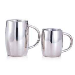 Double Steel Beer Mug Canada - Excellent Coffee Mug Cup Stainless Steel Beer Mug Double Wall Coffee Mug with Handle on Promotion