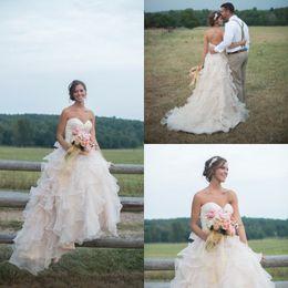 White Ballgown Wedding Dresses NZ - Ballgown Pink Blush Bohemian Wedding Dresses Sweetheart Neck Organza Ruffles Bridal Gowns vintage china customized Stunning Receptions gowns