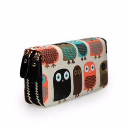 $enCountryForm.capitalKeyWord UK - Women Owl Coin Wallet Long Double Zipper Wallets Card Holder Bag Canvas Multi-function Purse Coin Pocket For Ladies