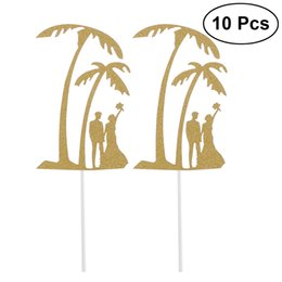 $enCountryForm.capitalKeyWord UK - 10Pcs Glitter Toothpick Toppers Cake And Cupcake Toothpick Toppers Coconut Palm Design Cake Decoration For Party Dessert