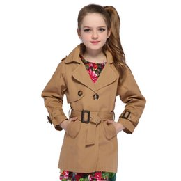 $enCountryForm.capitalKeyWord NZ - Girls Double Breasted Jackets Children Trench for Girls Coats Kids Solid Outerwear Fall Infant Windbreaker 8 9 12 Years Overcoat