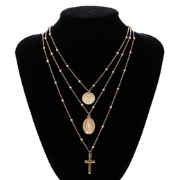 China Madonna Cross Necklace Silver Gold Madonna Multilayer Choker Necklace Pendants Fashion Jewelry for Women Drop Ship 380087 supplier gold chain crosses choker necklace suppliers