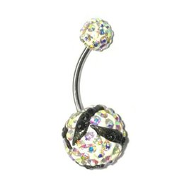 $enCountryForm.capitalKeyWord UK - Summer Style Belly Button Ring 5+12 mm Colorful Crystal Ball Surgical Steel Navel Pirsing Piercing Barbell Bent Bar Body Jewelry