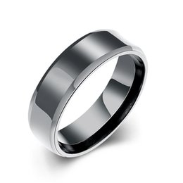 $enCountryForm.capitalKeyWord NZ - Classic Plain Black Gold Color Titanium Stainless Steel Rings for Men Simple Jewelry R194