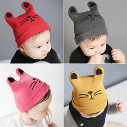 toddler crochet cat hat Canada - Baby Girl Winter Hat Cat Cotton Hat Children Print Hats Toddler Boy Hat Baby Photography Props Gorro Bebes