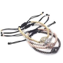 $enCountryForm.capitalKeyWord Australia - Anil Arjandas Brand men bracelet Pave Setting Black CZ Evil Eye Connector with 4mm Round Bead Braiding Men Macrame Bracelet