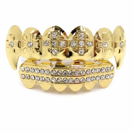 Chinese  Gold Color Plated Iced Out Crystal Stone Hip Hop Teeth For Mouth GRILLZ Caps Top & Bottom Grills Set Classic tooth manufacturers